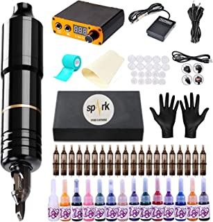 ANDNICE Tattoo Kit Rotary Machine Pen 20pcs Needle Cartridges 14 Inks Digital Power Supply Professional EK128