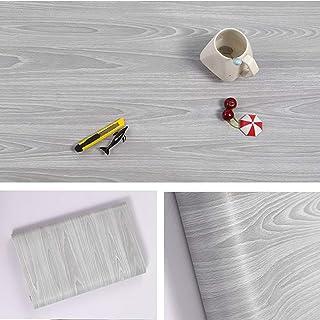 Papier adhésif aspect bois pour comptoir cuisine armoires mur table porte bureau (gris largeur de 45cm...