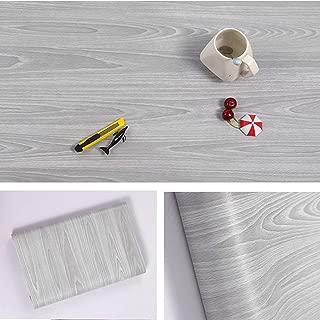Papier adhésif aspect bois pour comptoir, cuisine, armoires, mur, table, porte, bureau (gris, largeur de 45cm sur une longueur de 10m)