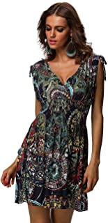 Women's Casual Low-Cut V-Neck Backless Printed Dresses
