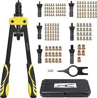 Remachadora de Tuercas Profesional con 150 pcs Tuercas Remachadora Manual 60HRC 36cm Manija con Remaches M3-M10 para Garaje Tallar Construcción Bricolaje Industria de Acero Inoxidable