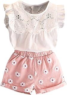 Short Impression Fleurs Casual Mignon Printemps Et/é De feuilles Chic-Chic Ensemble 2Pc Fille Enfant T-Shirt sans Manche Col Rond