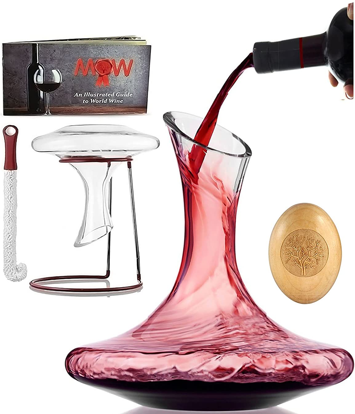 Wine Decanter Glass Carafe Set - Accessories Included Wood Stopper, Drying Stand, Cleaning Brush and Booklet in Deluxe Box| Durable Elegant Wine Aerator Great for Aerating the Wine Bouquet