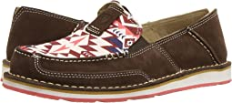 Brown Suede/Burgundy Aztec