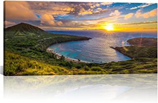 Large Canvas Wall Decorations Sunrise from Hanauma Bay On Oahu, Hawaii Landscape Printed Paintings for Living Room Framed Ready to Hang 24