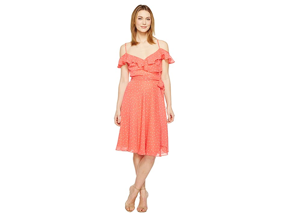 Tahari by ASL Dotted Sundress (Coral/White) Women