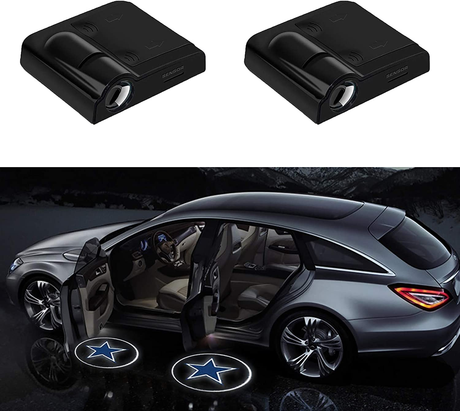 2 pcs Universal Wireless Projector Light Car Door Welcome Light Courtesy Lamp 4 Kinds of Film Pictures No Drilling Required