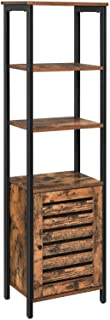 VASAGLE Lowell Tall Cabinet, 4-Tier Storage Cabinet with Door and Inside Adjustable Shelf, Steel Frame, Space-Saving, for ...