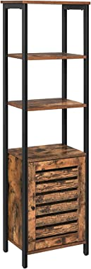VASAGLE Lowell Tall Cabinet, 4-Tier Storage Cabinet with Door and Inside Adjustable Shelf, Steel Frame, Space-Saving, for Liv