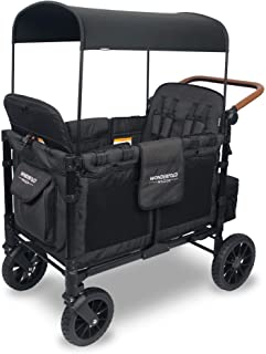 WONDERFOLD W4S 2.0 Multi-Function 4 Passenger Folding Stroller Wagon - Adjustable Canopy, Reclining Seats with Magnetic Buckles, and an Adjustable Vegan Leather Covered Handle Bar (Black)