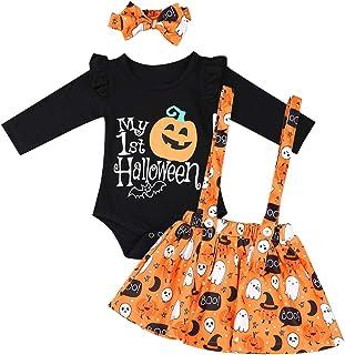 Kaerm Baby Girls Halloween Carnival Pumpkin Costume Long Sleeve Ruffle Romper with Suspender Skirt Headband Set Black 3-6 ...