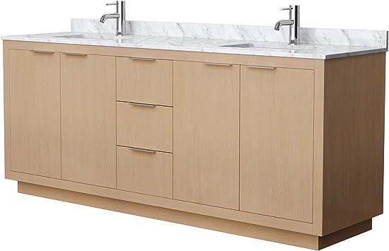 Maroni 80 Inch Double Bathroom Vanity In Light Straw White Carrara Marble Countertop Undermount Square Sinks Amazon Com