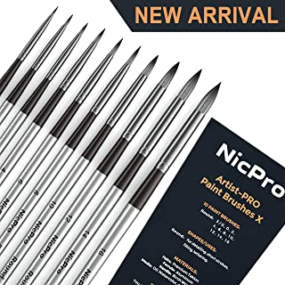 Nicpro 10 PCS Round Paint Brush Set Artist Painting Brushes for Watercolor Acrylic Oil, Art Paintbrush