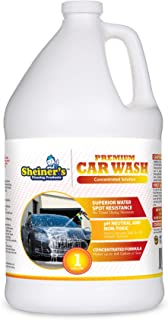 Sheiner`s Premium Car Wash Soap and Car Shampoo - No Towel Dry Spot Free Cleaning - pH Neutral & Non-Toxic - Compatible with Car Wash Sprayer Machines - 1 Gallon Concentrated Formula