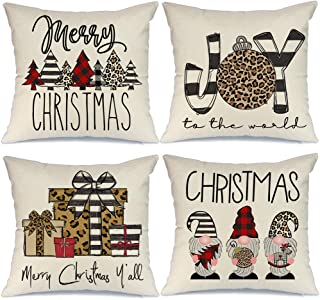 Christmas Pillow Covers 18x18 Set of 4, Buffalo Check Stripe Tree Gnome Rustic Winter Holiday Throw Pillows Farmhouse Chri...