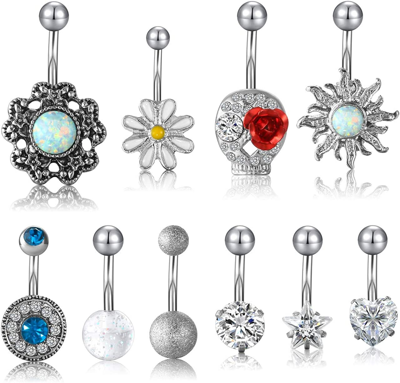 PiercingJ 10pcs 14G Stainless Steel Dangle Belly Button Rings for Women Sparkle Cubic Zirconia Crystal Navel Rings Body Piercing Jewelry