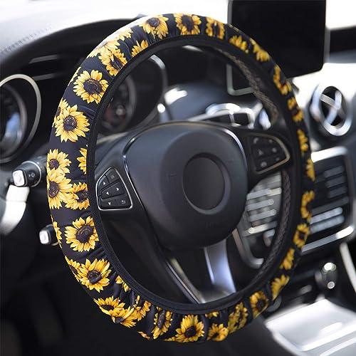 YR Universal Steering Wheel Covers, Cute Car Steering Wheel Cover for Women and Girls, Car Accessories for Women, Sun...