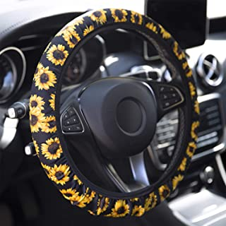 YR Universal Steering Wheel Covers, Cute Car Steering Wheel Cover for Women and Girls, Car Accessories for Women, Sunflower