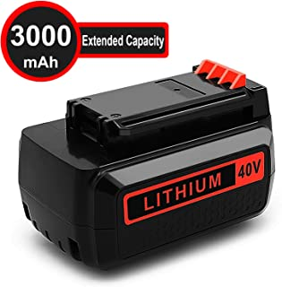 40 Volt MAX 3.0Ah Lithium Replacement Battery for Black and Decker 40V Battery LBX2040 LST136 LBXR2036 LBXR36 LHT2436 LCS1240 LBX1540 LBX36 LSWV36 LST540 LST136W Black+Decker Lithium Ion Battery