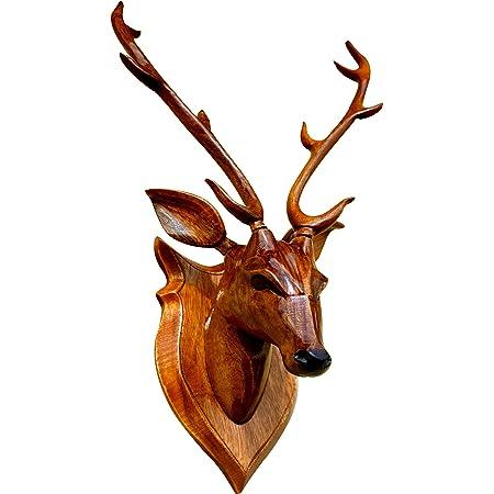 BK . ART & CRAFTS wooden handicraft 45 cm high DEER HEAD with horn - showpieces for wall decoration - Home decor