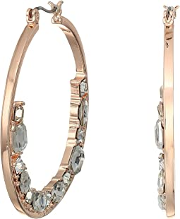 GUESS - Hoop with Floating Stones on Bottom Earrings
