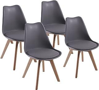 Lot de 4 chaises de Salle à Manger, DEWINNER fauteuils Chaise latérale Design rétro scandinave avec Jambe de Bois de hêtre...