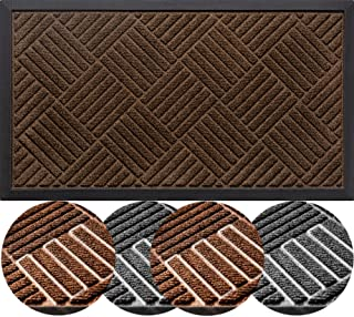 Durable Natural Rubber Front Door Mat, Outdoor and Indoor, Waterproof, Non-Slip, Low-Profile, Easy Clean, Rug Mats for Ent...