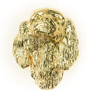 KING CHARLES SPANIEL Made in U.K Artistic Style Dog Clutch Lapel Pin Collection 22ct Gold Plated