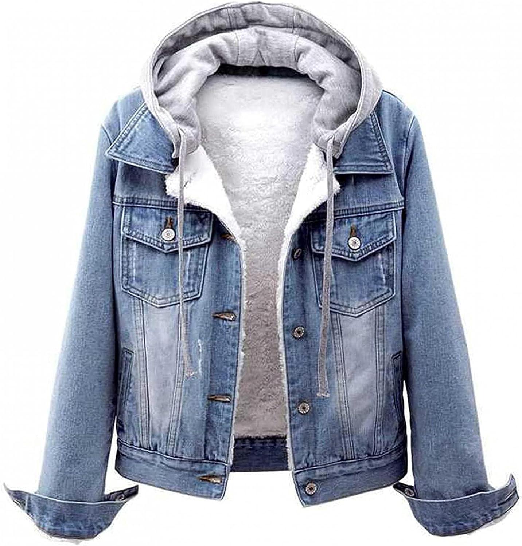 Women Vintage Button Down Distressed Short Denim Jean Jacket Coat With Pocket Drawstring Hoodie Denim Jacket