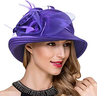 5be922c8c33 Women Kentucky Derby Church Dress Cloche Hat Fascinator Floral Tea Party  Wedding Bucket Hat S052