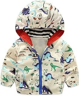 lymanchi Kid Baby Boy Dinosaur Hooded Zip Jacket Coat Windproof Casual Outerwear