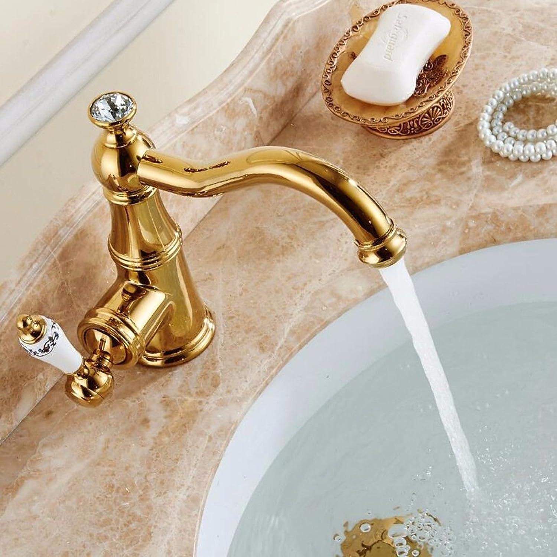 ANNTYE Waschtischarmatur Bad Mischbatterie Badarmatur Waschbecken Gold antik Messing Schwenkbare Einhebelbedienung Badezimmer Waschtischmischer