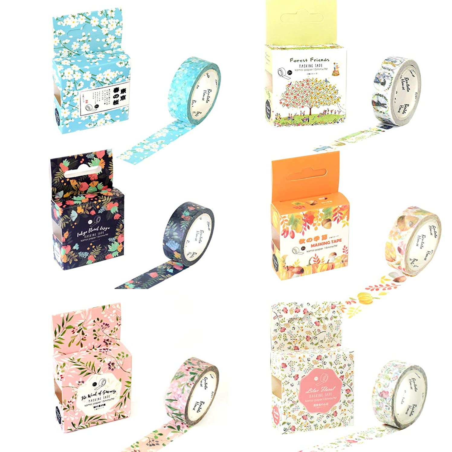 Kawaii Washi Tape Set (6 Rolls) Cute Masking Tapes Floral Forest Animal Autumn Fruit Pine Cone Mushroom Pumpkin Rabbit Giraffe Decorative Tape DIY Label for Art Craft Scrapbook Planner Journal Diary