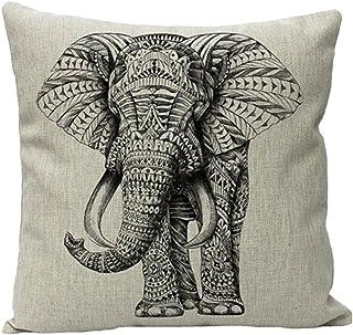 JOTOM Funda de cojín Suave de Lino de Poliéster para un sofá Cama Decorativo de 45 x 45 cm (Elefante)