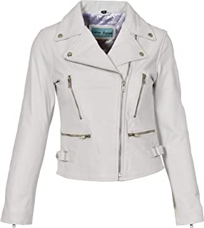 HOL Ladies Cross Zip Slim Fit Biker Style Leather Jacket Nadine White