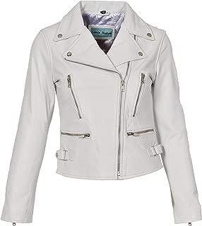 HOL Ladies Cross Zip Slim Fit Biker Style Leather Jacket Nadine White