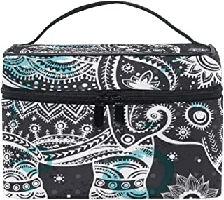 Travel Cosmetic Bag Tribal Ethnic Elephant Flower Dots Toiletry Makeup Bag Pouch Tote Case Organizer Storage For Women Girls