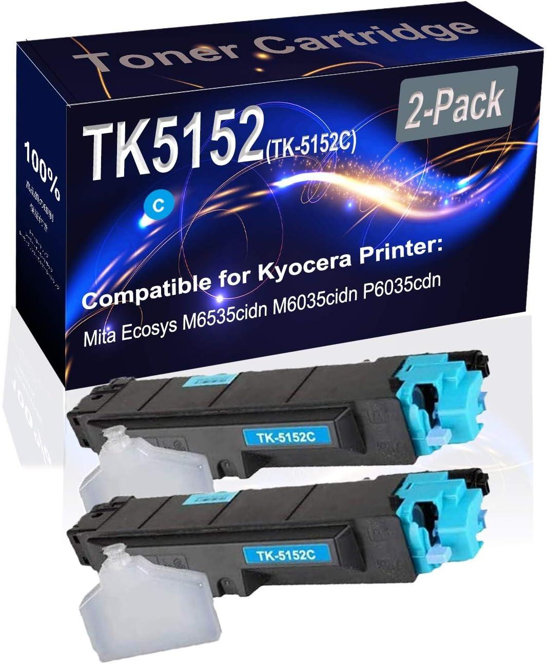 2-Pack (Cyan) Compatible Mita Ecosys M6535cidn M6035cidn P6035cdn Laser Printer Toner Cartridge (High Capacity) Replacement for Kyocera TK5152 (TK-5152C) Printer Toner Cartridge