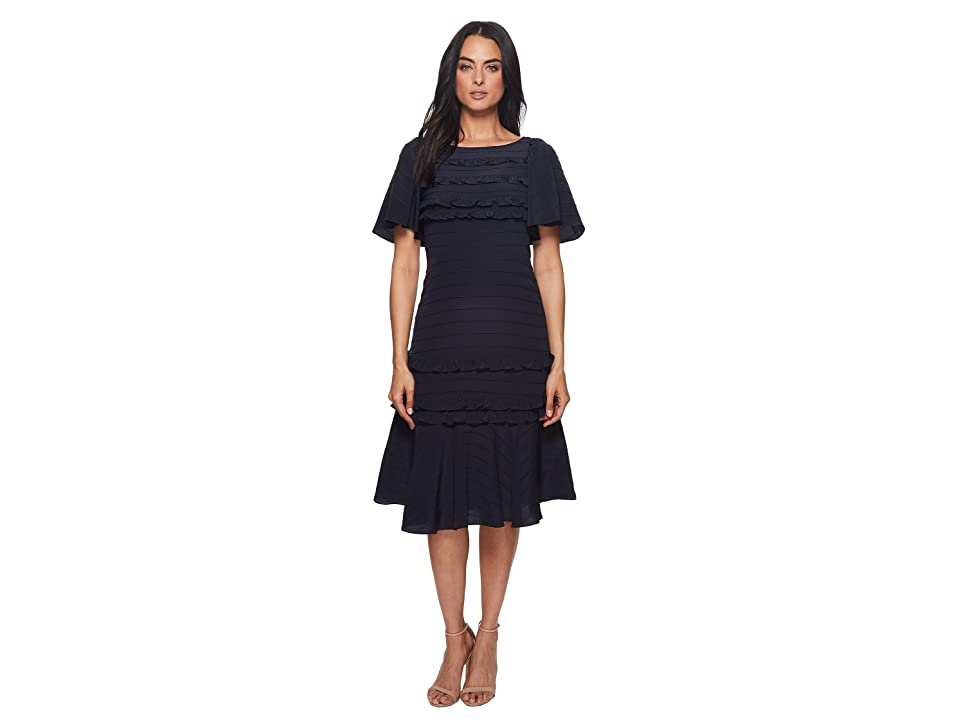 Rebecca Taylor Short Sleeve Silk Lace Dress (Navy/Black) Women