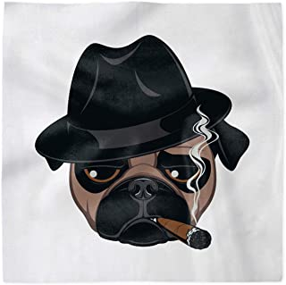 Ambesonne Cigar Decorative Napkins Set of 4, Cartoon Portrait of a Pug Dog with a Cigar Cool Guy Funny Gangster Character, Silky Satin Fabric for Brunch Dinner Buffet Party, 12, Brown Black White