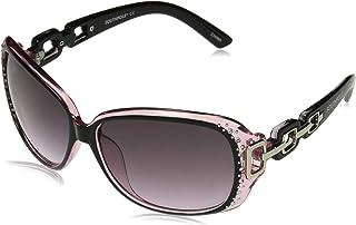 Southpole Women's 1017sp Oxpk Non-polarized Iridium Round Sunglasses, Black Pink, 70 mm