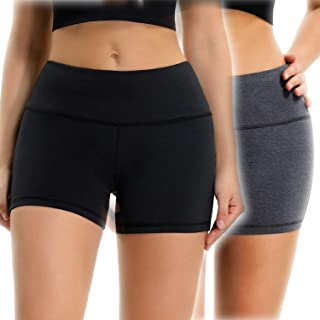 Osne4u Yoga Shorts for Women Running Gym Workout Shorts Pants with Zipper Pocket Tummy Control Non See-Through