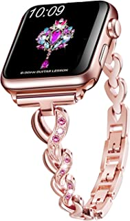 Sangaimei Watch Band Stainless Steel Band Wrist Straps with Crystal Rhinestone Diamond Compatible for Apple Watch Series 4/3/2/1/ Edition(Rose Gold 38/40mm and Pink Diamond)