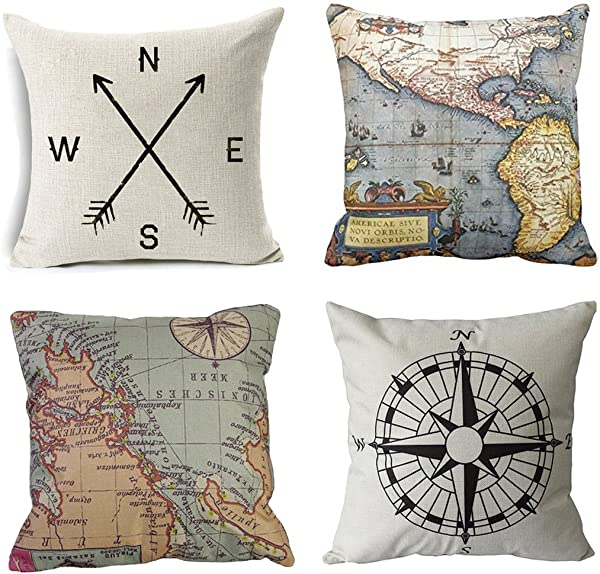 Wonder4 Geography Theme Throw Pillow Covers Home Decorative Map Art Throw Pillow Cases Couch Covers Decoration 2X Maps 1x Compass 1x Navigation Compass 18 X 18 Inch For Home Sofa Bedding Set Of 4