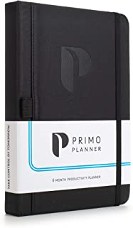 Primo Planner - Best Undated Daily Planner, Organizer, Calendar and Journal for Goal Setting, Increasing Productivity, Improving Time Management and Focus | 2020-2021 | Leather Hardcover