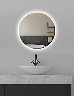 ApeJoy Espejo de baño LED redondo 60 cm antivaho con iluminación blanca fría con sensor táctil Clase de eficiencia energét...