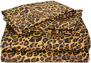 Rajlinen Luxury Egyptian Cotton 650-Thread-Count Sateen Finish Fitted Sheet & Pillow case Queen Pocket Depth (+15 Inch) Leopard Print