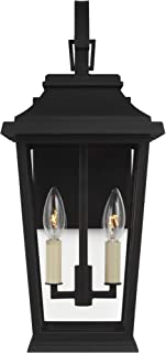 Feiss OL15401TXB Transitional Two Light Outdoor Wall Lantern from Warren Collection in Black Finish, Mount-20 H