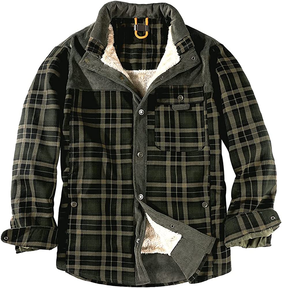 Men's Plaid Flannel Lined Fleece Hooded Jacket Long Sleeve Shirt (Red Coffee, M, xx_l)