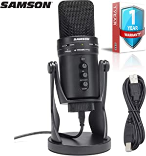 Samson G-Track Pro Multi-Pattern USB Condenser Studio Microphone with Built-in Audio Interface (Black) with 1-Year Extended Warranty